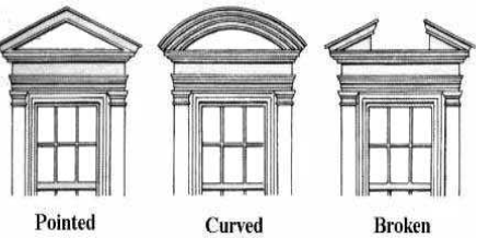 Pediments, Pointed Curved and Broken